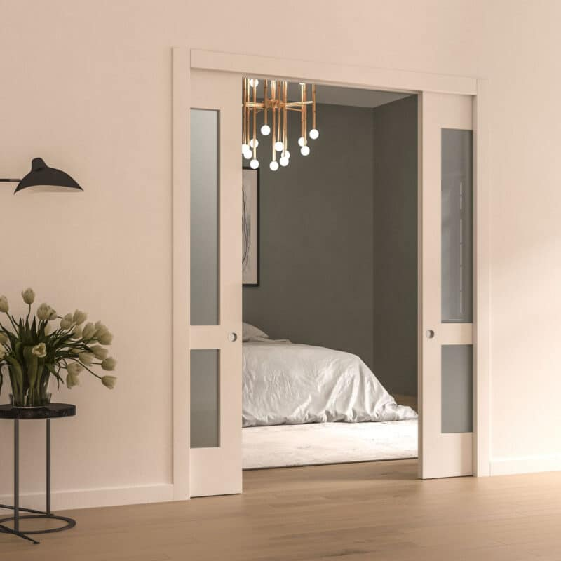 Pictured: This graphic shows a double pocket door with a glass crop that's halfway open.