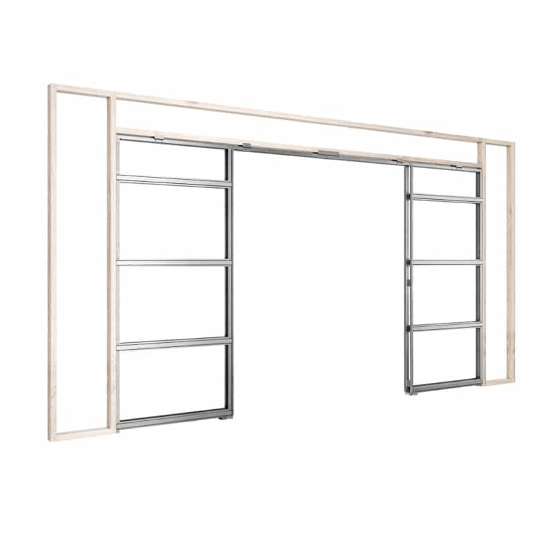 Image: this graphic shows the Rocket Pocket Door Frame for a double pocket door.