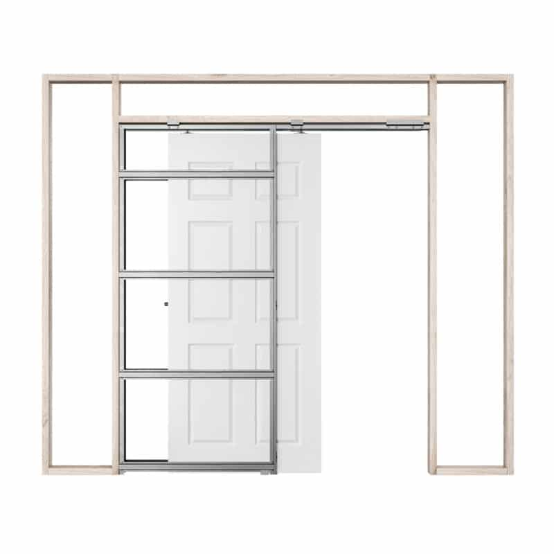 Pictured: This is a graphic showing how a single Rocket Pocket Door Frame works.