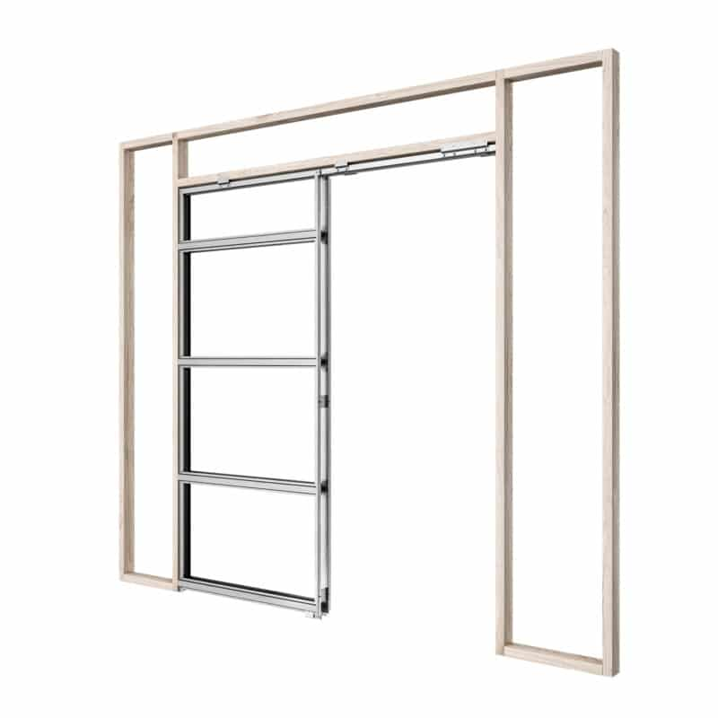 Pictured: This is a graphic showing the frame of a single Rocket Pocket Door Frame.