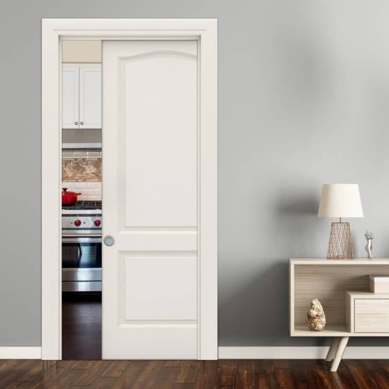 Pictured: This graphic shows a single pocket door that's halfway open.