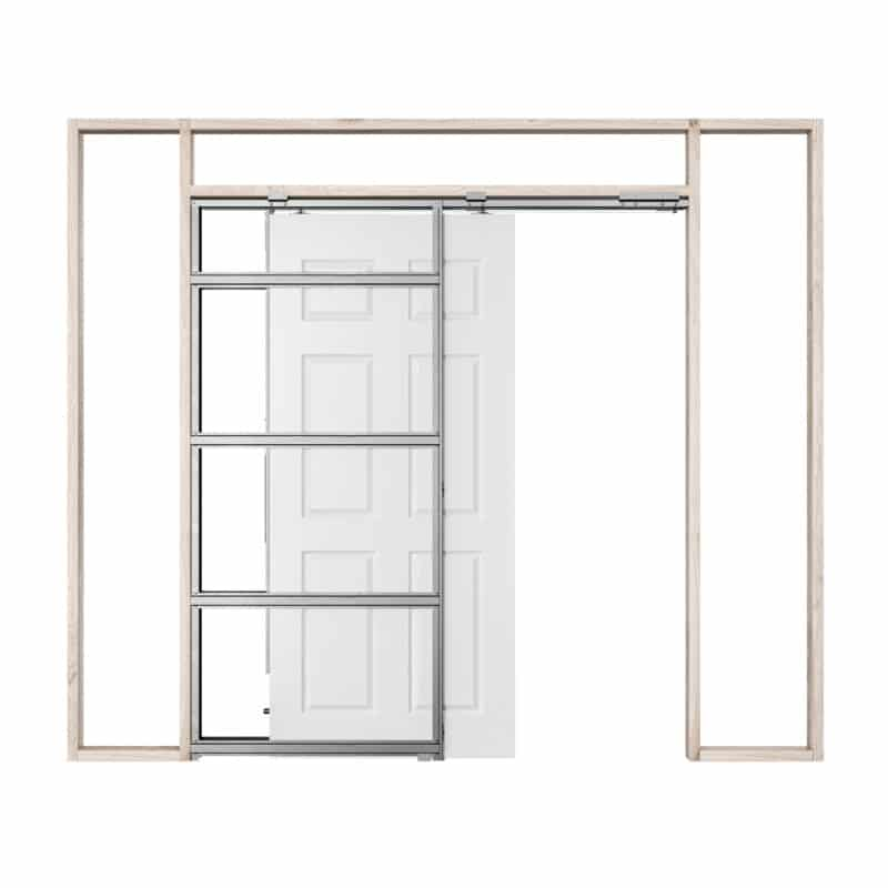 Pictured: This is a graphic showing how a single Rocket Pocket Door Frame works by self closing.