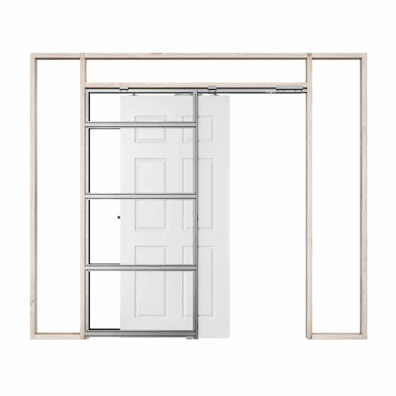 Pictured: This is a graphic showing how a single Rocket Pocket Door Frame works by soft closing.